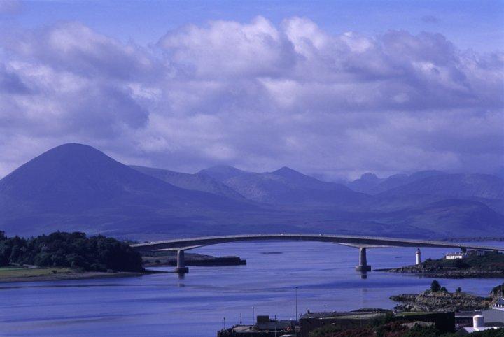 Eilean Bàn, Skye Bridge and Cuillins